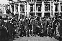 Anschluss. The Nazis entering the City Council of Vienna. The new city council men in front of the Burgtheater. Austria, 1938. © Roger-Viollet
