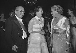 """Vincent Auriol, président de la République française, recevant les aviatrices """"les plus vite du monde"""" : Jacqueline Auriol, sa belle-fille et Jacqueline Cochran. Paris, 18 février 1953.     © Roger-Viollet"""