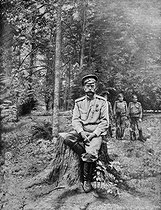 Nicolas II, czar of Russia, prisoner in the park of the Tsarskoïe Selo's imperial residence, before his transfer to Tobolsk, in July-August, 1917. © Roger-Viollet