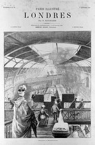 "London (England). ""Descent in the subway"".  Engraving by Tillet according to Paul Renouard, October 1886. © Roger-Viollet"