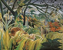 """Henri Rousseau (dit le Douanier, 1844-1910). """"Tigre dans une tempête tropicale - Surpris"""". Huile sur toile, 1891. Londres (Angleterre), galerie nationale. © Iberfoto / Roger-Viollet"""