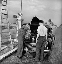 Pump attendant filling up the water tank of a 203 Peugeot in a BP service station. France, circa 1952. © Roger-Viollet