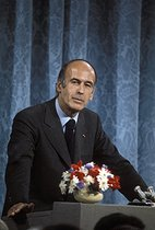 Valéry Giscard d'Estaing (born in 1926), French statesman. First press conference at the Elysee Palace after his election at the presidency of the Republic. Paris, 1974. © Jean-Pierre Couderc / Roger-Viollet