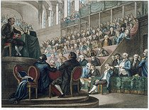 Trial of King Louis XVI of France in front of the Convention, on December 26, 1792. Engraving by Schiavonetti and Miller. Paris, musée Carnavalet.  © Musée Carnavalet/Roger-Viollet
