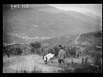 """Spanish Civil War (1936-1939). """"La Retirada"""". Spanish refugees carrying a casualty to Prats-de-Mollo-la-Preste after walking through the arduous mountain paths. January 28, 1939. Photograph from the Excelsior newspaper. © Excelsior - L'Equipe / Roger-Viollet"""