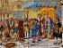 Ecole espagnole. Christophe Colomb reçu à Barcelone par le roi Ferdinand d'Aragon et son épouse Isabelle de Castille, à son retour d'Amérique en 1492. Détail d'une céramique, XXème siècle. Séville (Espagne), parc de María Luisa. © TCDL / The Image Works / Roger-Viollet