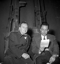"Albert Camus (on the right) at the time of a rehearsal of his show "" L'Etat de siège "" with Arthur Honegger, author of the stage music. Paris, théâtre Marigny, October 1948. © Studio Lipnitzki/Roger-Viollet"