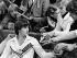 Nadia Comaneci (née en 1961), gymnaste roumaine, signant des autographes lors des championnats du monde de gymnastique artistique. Strasbourg (Bas-Rhin), octobre 1978.  © Johann Müller/Ullstein Bild/Roger-Viollet