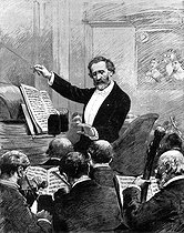 Giuseppe Verdi (1813-1901), Italian composer, conducting the orchestra of Paris Opera. Engraving after a drawing by Adrien Marie.    © Roger-Viollet