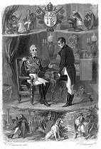"""Meeting between King Charles X of France and François-René de Chateaubriand in Prague, 1833. Illustration for """"Mémoires d'outre-tombe"""" by François-René de Chateaubriand. Engraving by F. Delannoy after R. Demoraine. © Roger-Viollet"""