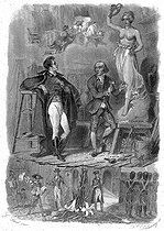 """François-René de Chateaubriand, in Canova's studio in Rome, 1804. Illustration for """"Mémoires d'outre-tombe"""" by François-René de Chateaubriand, Book XV, chapter 7. Engraving by F. Delannoy after G. Staal. © Roger-Viollet"""