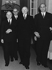 CECA (Communauté Européenne du Charbon et de l'Acier). Première visite de la délégation européenne à Bonn (Allemagne, RFA). De g. à dr. : le président de la haute autorité de la CECA Jean Monnet, Heinz Potthof, le chancelier de la RFA Konrad Adenauer, et le vice-président Franz Etzel. 9 décembre 1953. © Ullstein Bild / Roger-Viollet
