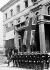 """Conférence de Munich. Les drapeaux français et britannique devant le """"Führerbau"""" sur la Place royale. Munich, 29 septembre 1938. © Ullstein Bild/Roger-Viollet"""