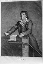"Jean François Tourcaty (born in 1763) after Simon Petit. ""Jean-Paul Marat (1743-1793), French politician and revolutionary, making a speech. Engraving, August 1794. Paris, French National Library. © Collection Harlingue / Roger-Viollet"