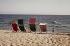 Deckchairs on a beach. © Roger-Viollet