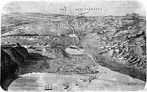 Pilot study of the Suez Canal line (Egypt), by Linant and Mougel, engineers (1856). Engraving. © Albert Harlingue/Roger-Viollet