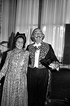Salvador Dali (1904-1989), Spanish painter and engraver, greeted at the Academy of Fine Arts, with his wife Gala Dali (Elena Diakonova, 1894-1982). Paris, on May 9, 1979. © Jacques Cuinières / Roger-Viollet