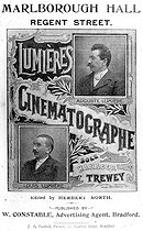 Poster of the Lumières Cinematograph in London, in 1897, with the portraits of the brothers Auguste (1862-1954) and Louis (1864-1948) Lumière, pioneers of the cinema. © Roger-Viollet