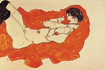 "Egon Schiele (1890-1918). ""Nu sur une couverture orange"". Gouache, crayon noir, 1914. Collection privée.   © Imagno/Roger-Viollet"