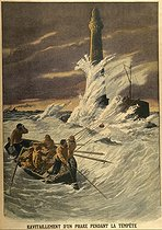 Resupplying of a lighthouse during the storm. Le Petit Journal, January 1912. © Roger-Viollet