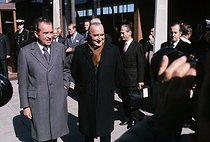 Georges Pompidou (1911-1974), French statesman, with Richard Nixon (1913-1994), American statesman. Reykjavik (Iceland), on June 1st, 1973. © Jean-Pierre Couderc/Roger-Viollet