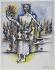 """Ossip Zadkine (1890-1967). """"Apocalypse II"""". Stylos-feutres et pastel gras sur papier grainé, s.d.b.d.: O.Zadkine 1964 II. Paris, musée Zadkine.  © Musée Zadkine/Roger-Viollet"""