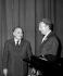 """Charles Trenet, le jour de sa """"première"""" à l'Olympia, avec Bruno Coquatrix, le 3 mai 1971. © Patrick Ullmann / Roger-Viollet"""