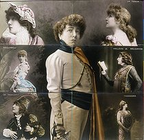 Sarah Bernhardt (1844-1923), French actress, in various roles. Puzzle of postcards. © Roger-Viollet