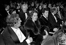 H. Claus, Sylvia Christel and Michel Aumont, attending a concert of Charles Aznavour (1924-2018), Armenian-born French singer-songwriter and actor. Paris, Olympia, on January 6, 1976. © Patrick Ullmann / Roger-Viollet