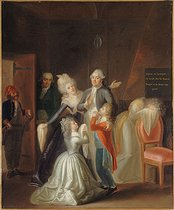 Jean-Jacques Hauer (1751-1829). King Louis XVI of France bidding farewell to his family, on January 20, 1793. Oil on canvas, 1794. Paris, musée Carnavalet. © Musée Carnavalet/Roger-Viollet