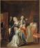 """Jean-Jacques Hauer (1751-1829). """"Les adieux de Louis XVI à sa famille, le 20 janvier 1793"""". Huile sur toile, 1794. Paris, musée Carnavalet. © Musée Carnavalet/Roger-Viollet"""