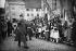 Guerre 1939-1945. Le général De Gaulle saluant les drapeaux, au cours d'une inspection à Rouffach (Haut- Rhin), le 12 février 1945, pendant l'offensive allemande dans les Ardennes et en Alsace. Derrière lui : le général de Lattre de Tassigny. © Neurdein/Roger-Viollet