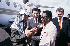 Yasser Arafat (1929-2004), head of the Palestine Liberation Organization, greeted by Omar Bongo (1935-2009), Gabonese statesman. Gabon, April 1989. © Françoise Demulder / Roger-Viollet