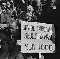 May Day protest. Survivors from the Auschwitz concentration camp. Paris, on May 1st, 1945. Photograph by Roger Berson. © Roger Berson/Roger-Viollet
