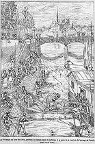 "Fishermen on the pont des Arts during a low tide of the river Seine due to the bursting of the Neuilly dam. Paris. Engraving after a drawing by Victor Geruzez (known as Crafty, 1840-1906). ""Le Monde illustré"", September 1868. © Roger-Viollet"