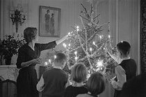 Family decorating a Christmas tree. Bordeaux (France), 1961. Photograph by Janine Niepce (1921-2007). © Janine Niepce/Roger-Viollet