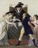 """Jean-Baptiste Lesueur (1749-1826). """"Le Divorce"""". Gouache sur carton découpé collé sur une feuille de papier lavée de bleu. Paris, musée Carnavalet. © Musée Carnavalet/Roger-Viollet"""