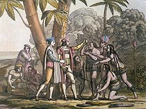 REV397907. The arrival of Christopher Columbus in the New World and his meeting with the indigenous peoples (coloured engraving). REV397907 The arrival of Christopher Columbus in the New World and his meeting with the indigenous peoples (coloured engraving) by Bonatti, D.K. (fl.1720-80); Biblioteca Nacional de Mexico, Mexico; (add.info.: Columbus (1451-1506) landed at San Salvador on Oct. 12th 1492;); Italian, out of copyright ©TCDL / The Image Works. © TCDL / The Image Works / Roger-Viollet