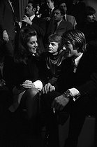 Sheila, Jacques Dutronc and Claude François French artists, in the studios of RTL during a radio program hosted by Philippe Bouvard and Anne-Marie Peysson. 1968. © Noa / Roger-Viollet