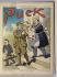 """Theodore Roosevelt (1858-1919), homme d'Etat américain, quittant la Maison Blanche en laissant aux soins de William Hurt, la bonne, un enfant sur le vêtement duquel est écrit """"Ma politique"""". Caricature extraite de """"Puck"""", 24 février 1909. © The Image Works / Roger-Viollet"""
