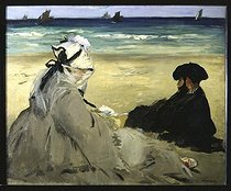 Edouard Manet (1832-1883). On the beach. Mrs Manet and Eugène Manet, the French painter's wife and brother, 1873. Paris, musée d'Orsay.     © Roger-Viollet