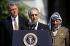 Le premier ministre israélien Yitzhak Rabin prononçant un discours en présence du président américain Bill Clinton et du chef palestinien Yasser Arafat. Washington D.C. (Etats-Unis), 1993. © The Image Works / Roger-Viollet