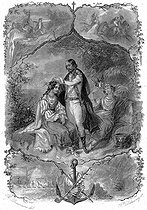 """François-René de Chateaubriand and two women from Florida, during his journey in America in 1791. Illustration for """"Mémoires d'outre-tombe"""" by François-René de Chateaubriand, Book VIII, chapter 4. Engraving by F. Delannoy after R. Demoraine. © Roger-Viollet"""
