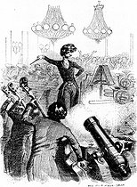 """""""A concert of grapeshots"""". Satirical cartoon of Hector Berlioz (1803-1869), French composer, conducting an orchestra. Engraving. Paris, Library of the Conservatoire. © Roger-Viollet"""