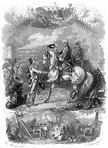 """François-René de Chateaubriand meeting King Frederick William II of Prussia on his way to Trier to join the Princes' army on July 1792. Illustration for """"Mémoires d'outre-tombe"""" by François-René de Chateaubriand, Book IX, chapter 8. Engraving by F. Delannoy after R. Demoraine. © Roger-Viollet"""