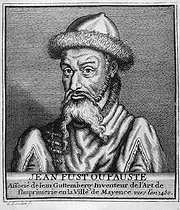 Johann Fust (circa 1400-1466), merchant and banker who financed the printing works of Johannes Gutenberg and Peter Schoeffer. Engraving by Boudau, circa 1450. © Jacques Boyer / Roger-Viollet