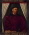 """Jean Fouquet (vers 1420-1478/81). """"Charles VII (1403-1461), roi de France"""".  L'inscription sur le cadre peut faire allusion aux trèves de Tours (1444) ou à la reconquête de la Guyenne (1453). Paris, musée du Louvre.    © Roger-Viollet"""
