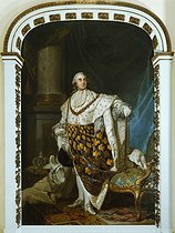 Joseph-Siffrède Duplessis (1725-1802). The King Louis XVI of France (1754-1793), wearing in coronation clothes (one of the 46 replicas of the portrait exhibited for the 1777 Exhibition). Oil on canvas. Paris, musée Carnavalet.  © Musée Carnavalet/Roger-Viollet
