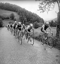 Tour de France in 1966 or 1967. Stage in the Pyrénées. On the left : Felice Gimondi. On the right : Raymond Poulidor.   © Roger-Viollet