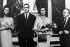 """Tournage de """"La Chute de l'empire romain"""", film d'Anthony Mann. Sophia Loren, le prince Juan Carlos d'Espagne et son épouse la princesse Sophie de Grèce. Madrid (Espagne), 23 avril 1963. © TopFoto/Roger-Viollet"""